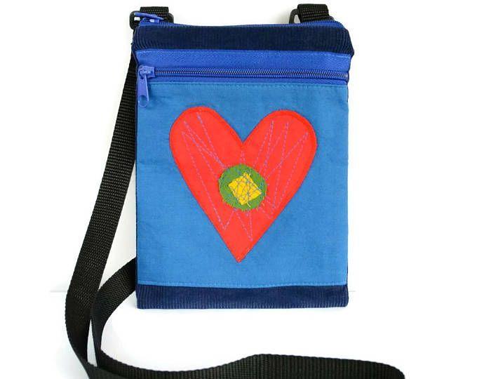 Travel Cell Phone Bag, Travel Accessory Passport Bag, Small Crossbody Bag, Messenger Bag, Sling Bag, Cross Body Bag, Mini Messenger, Heart #heart #minimessenger #ipadbag #cellphonebag #messengerbag #crossbodybag #applique #smalltravelbag #kidsbag