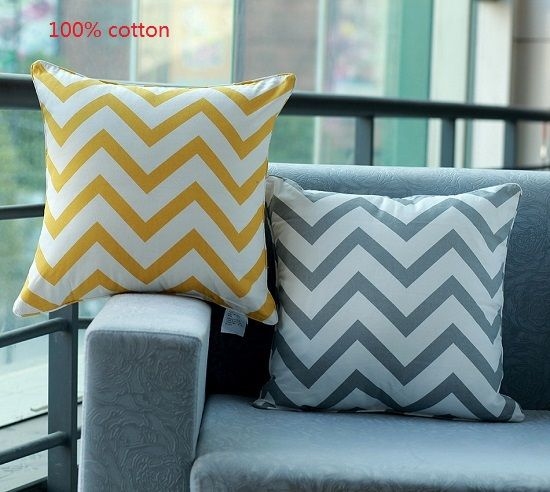"Cheap pillow case decorating, Buy Quality case for htc aria directly from China pillow rubber Suppliers: Promotion 18""*18"" Home Decorative Ikea 100% Cotton Yellow Grey Chevron Zig Zag Throw Cushion Cover Pillow Case for Beddi"