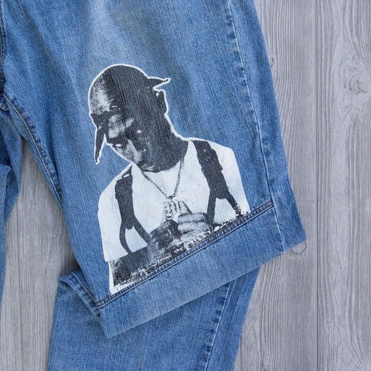 2Pac Jeans Makaveli Tupac Shakur Baggy 90s Streetwear Mens Size 50 Rap Hip Hop #Makaveli #BaggyLoose