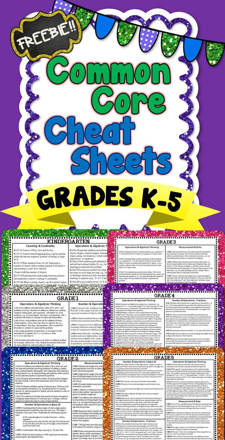 This freebie has Common Core Math Cheat Sheets for grades K-5!! All Math standards are on 1 page!