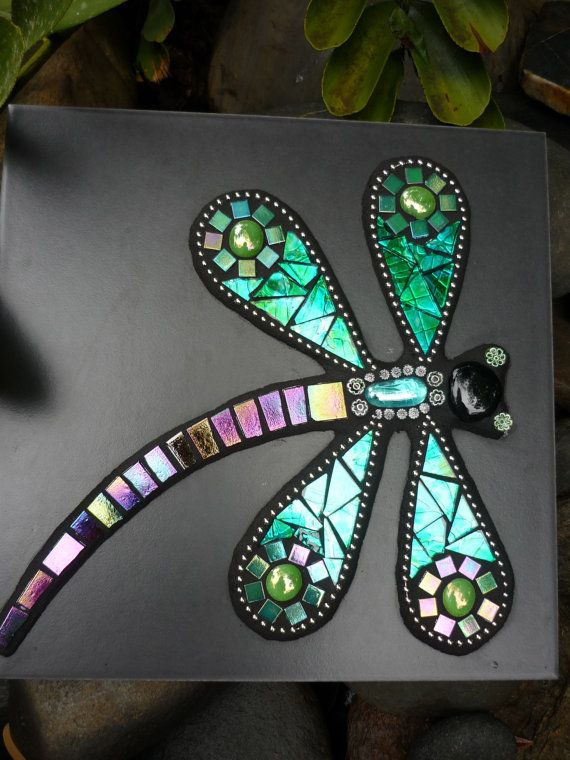MADE TO ORDER Dragonfly Mosaic Mixed Media Art Tile by LizTonkin