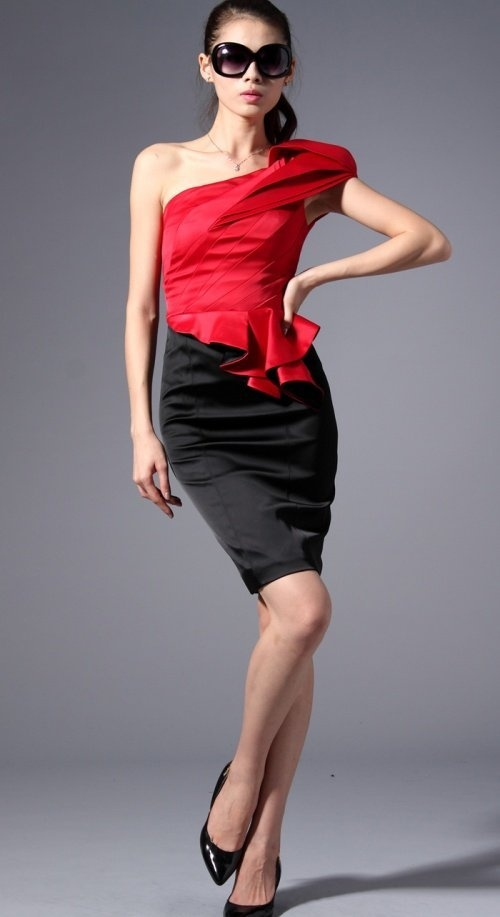 one-shoulder dress; also available in cream