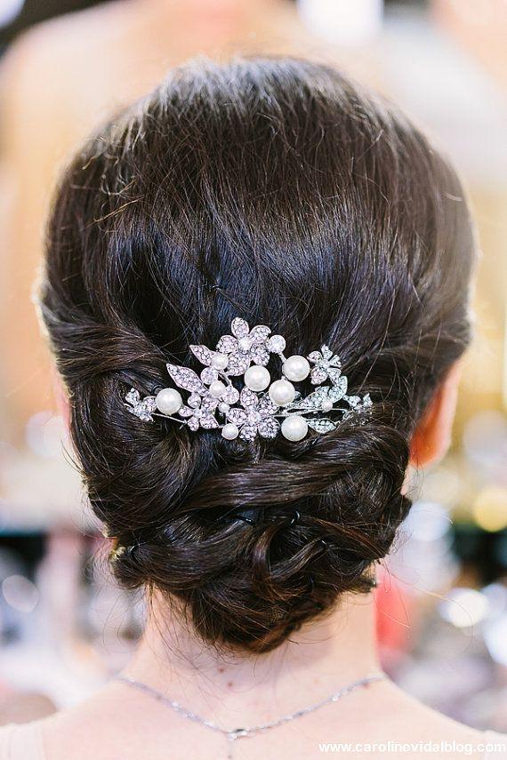 Bridal Hair Comb Wedding Head Piece Crystal by PowderBlueBijoux
