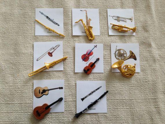 Montessori Musical Instrument Replica 3 Part Cards Set with Miniatures