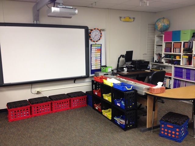 MelodySoup blog: Music Class Organization - teacher corner upgrade - crates keep students from playing with keyboard cords