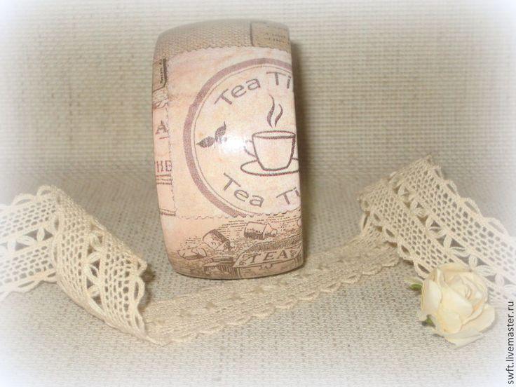 Купить Женский деревянный браслет Чайная церемония. Бохо бежевый эко рустик - бежевый