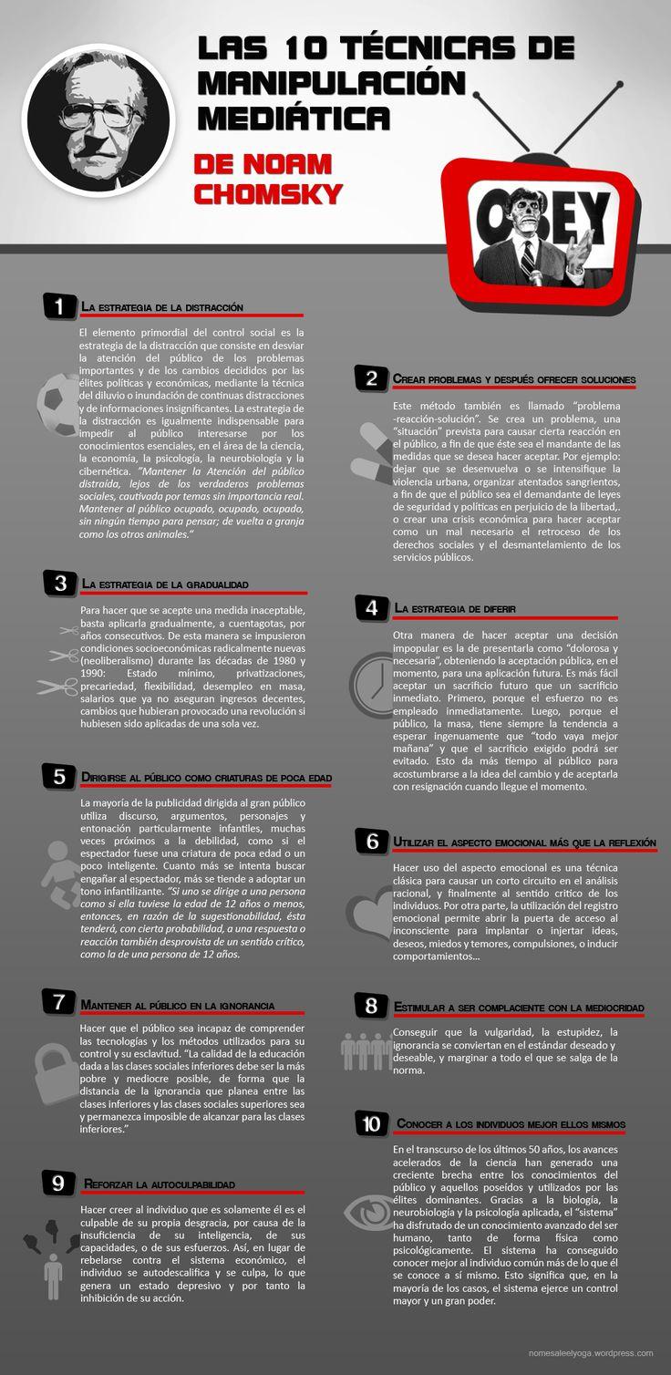 Las 10 Técnicas de Manipulación Mediática de Noam Chomsky [Infografía]