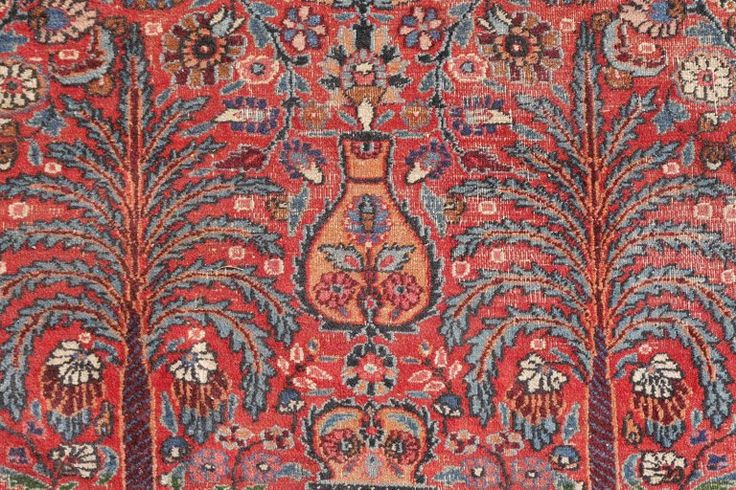 Distressed Persian Rug Dorokhsh Garden of Paradise, Signed Semi Antique Carpet 2