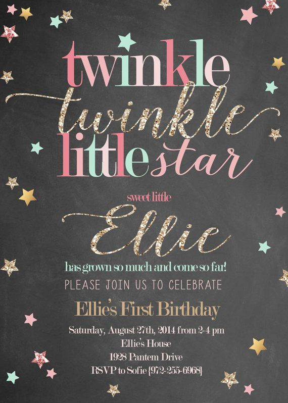 Twinkle Twinkle Little Star Girl Birthday by RachellesPrintables