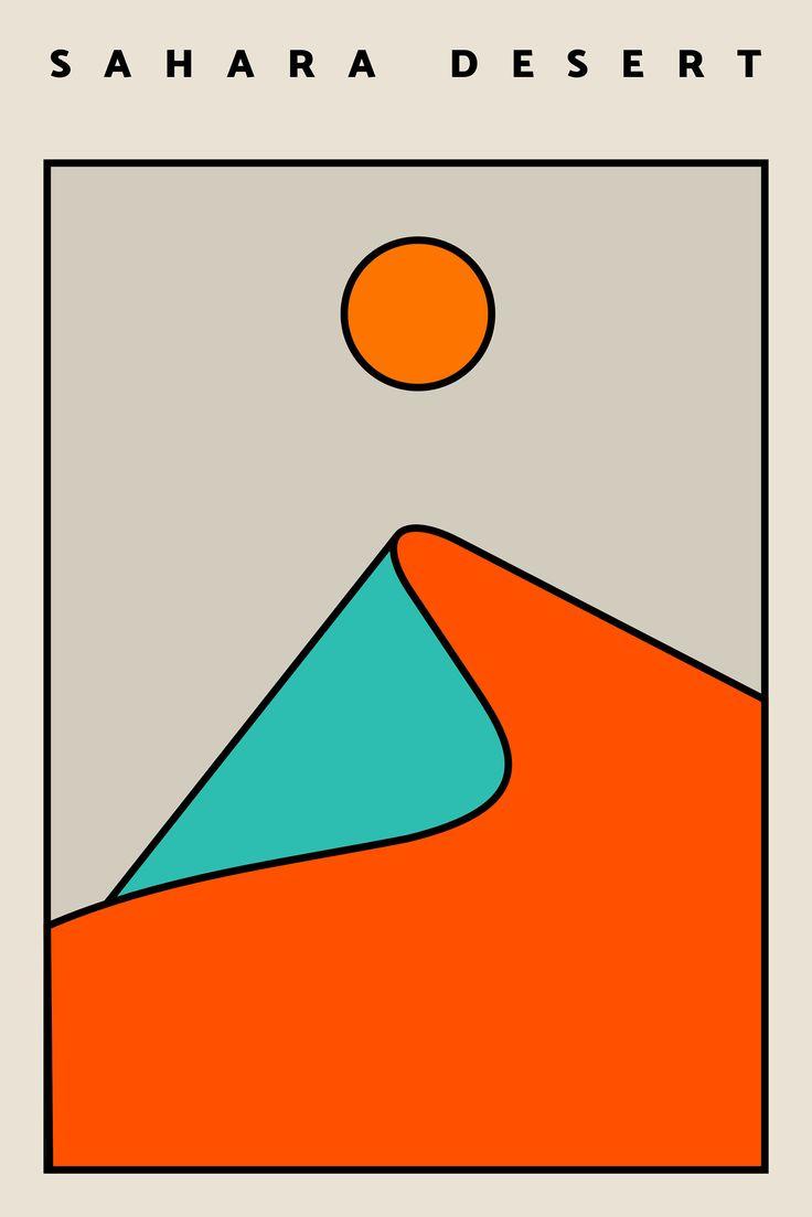 Sahara Desert Print, Desert Art, Sahara, Home Decor, Office Decor, Minimalist Poster Modern Abstract Art Print, Living Room Decor, Landscape
