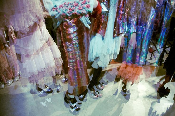 Metallic snake skin skirts and frilly frocks at Meadham Kirchhoff AW14 LFW. More images at: http://www.dazeddigital.com/fashionweek/womenswear/aw14
