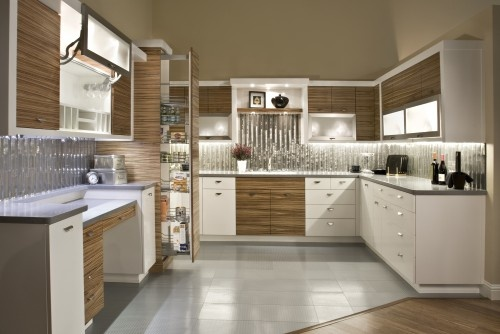 Modern Kitchen With Matched Grain Zebra Wood And White Paint 70 Gloss This Modern Kitchen