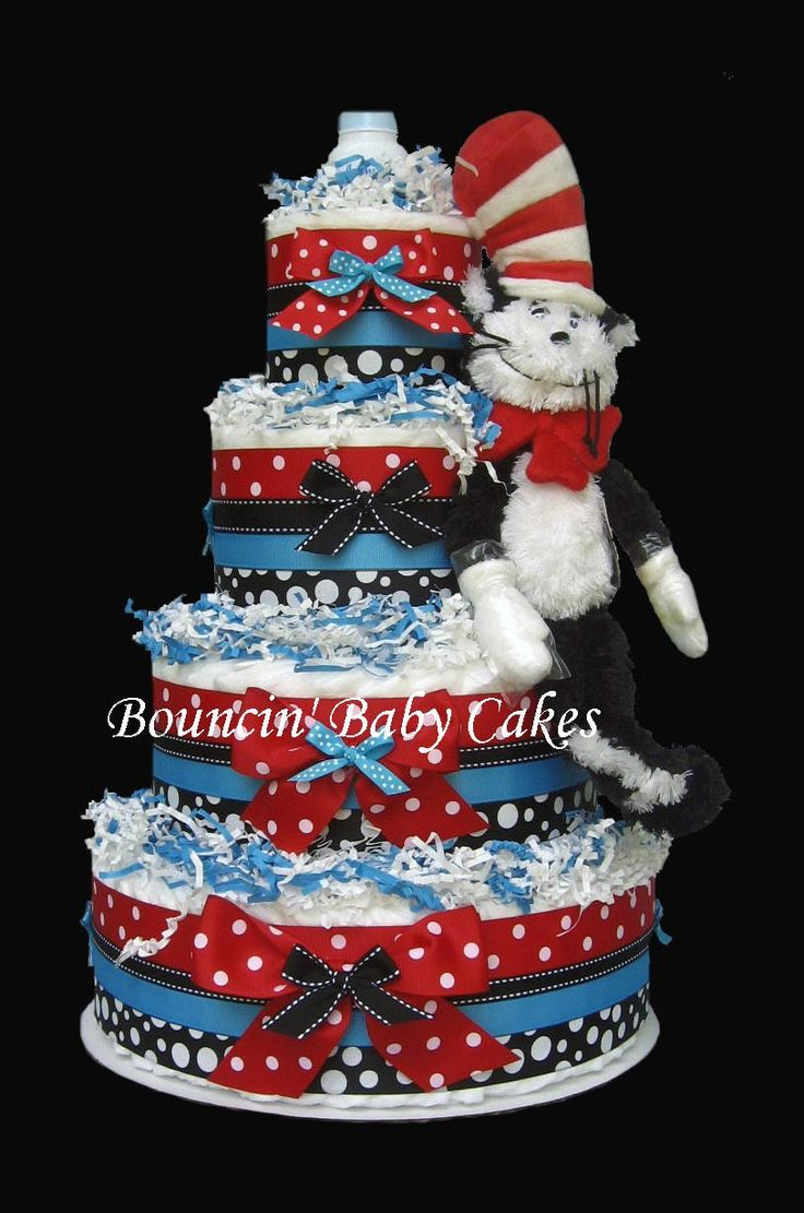 """dr seuss baby shower ideas   ... """"The Cat in the Hat"""" Diaper Cake will dazzle all Dr. Seuss lovers"""