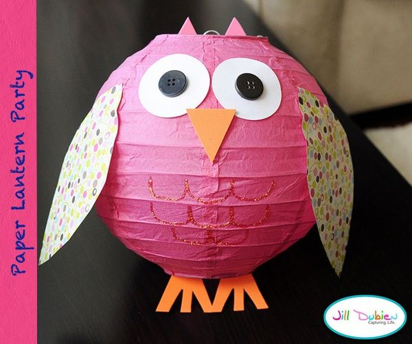 DIY paper lantern owl -- Great decor for a wildlife-themed baby shower like the Happi Tree theme
