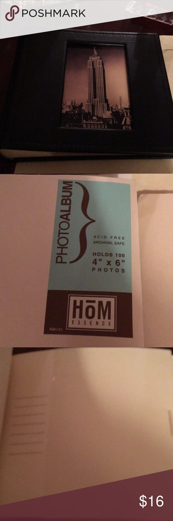 """HOM photo album 4x6 holds 100 picts NWT great gift 6x6"""" total pvc like leather black holds 100 picts 4x6""""  Great gift idea NWT nom Accessories"""
