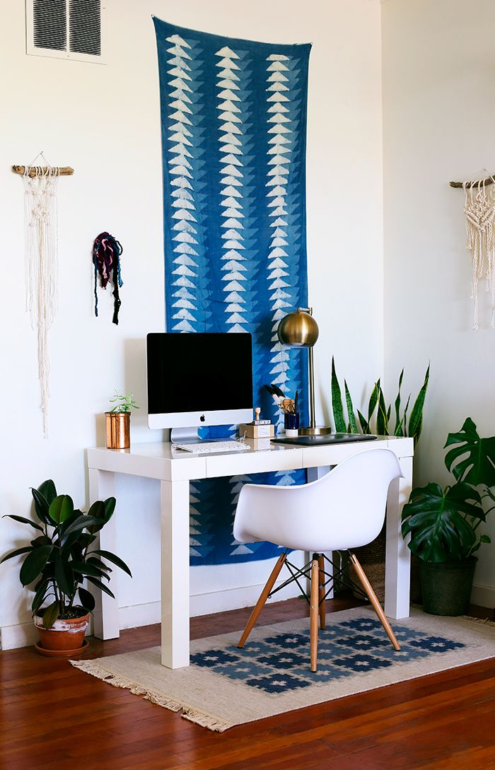 Another Block Shop scarf hangs behind my desk along with a scrap macrame pieces of mine and some found material I plan on upcycling soon. The rug is from Kaya Kilims.