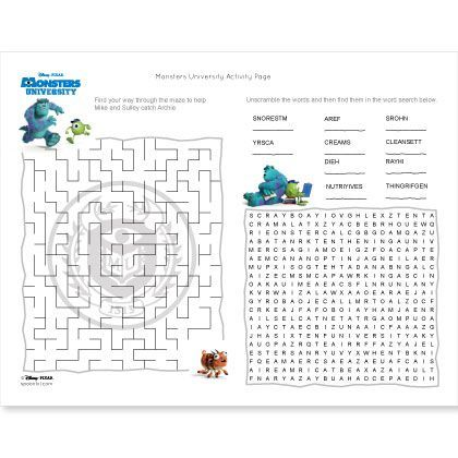 This boredom-busting printable features a fun maze and word find, perfect for any Monsters University fan.