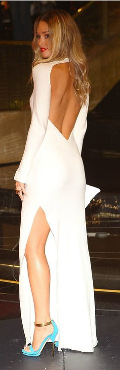 white, long-sleeve, open-back gown