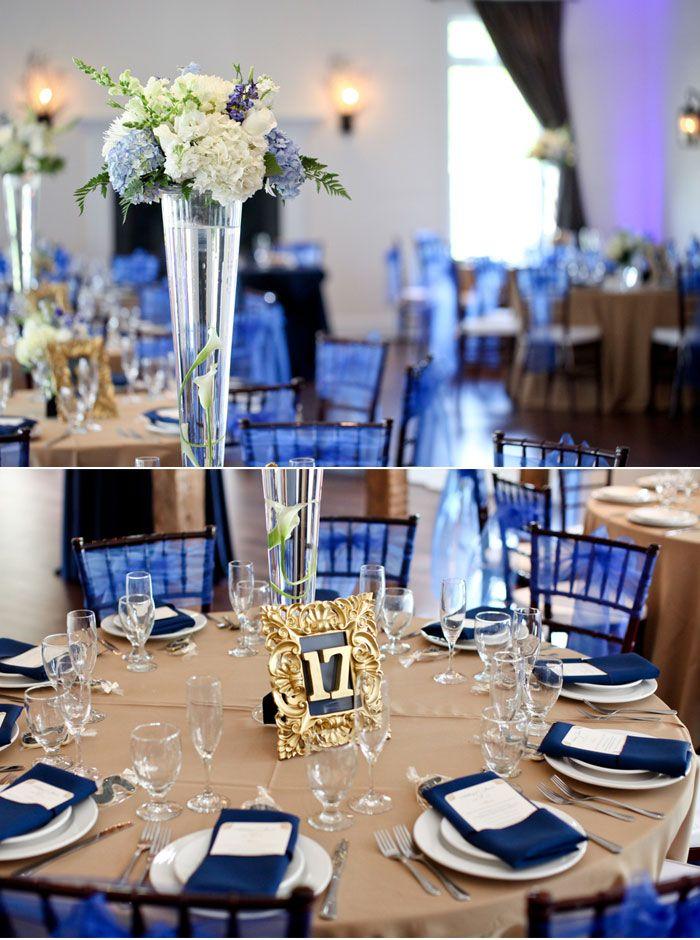 Classic Navy Blue Wedding Table Setting