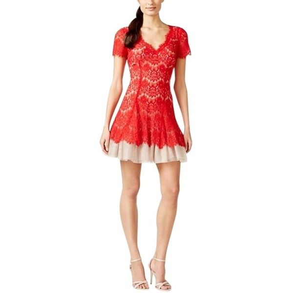 Pre-owned Betsy & Adam Cocktail Dress ($149) ❤ liked on Polyvore featuring dresses, red beige, petite dresses, red party dresses, a line cocktail dress, a line dress and beige cocktail dress