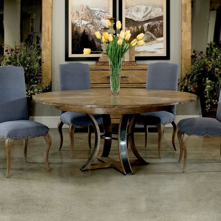 Solid Oak Jupe Dining Table Rustic Transitional Iron Accented Base Brand New #Transitional