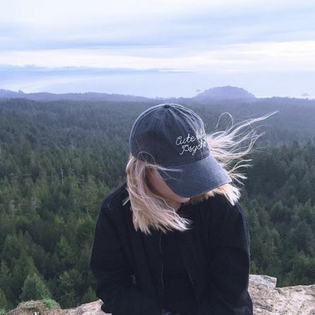 when i cut off my hair and went platnum blonde while on our trip to NC, taken after climbing a mountain in NC on a windy grey day