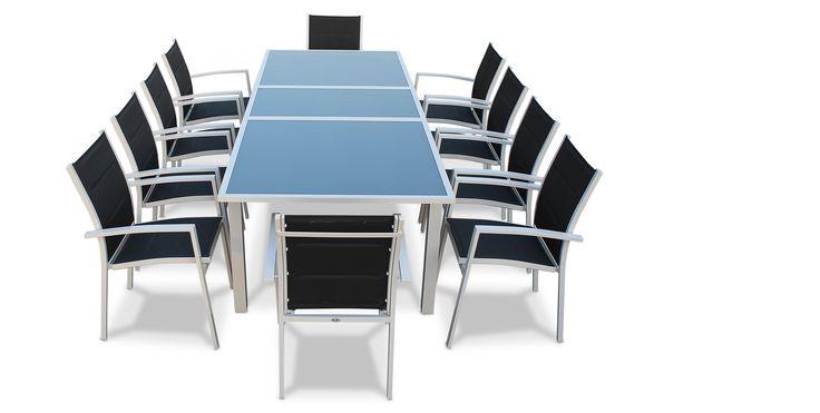 Photo Table de jardin  extensible 200/260cm en aluminium et 8 fauteuils en textilène-Gris