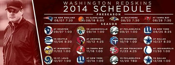 2014 Washington Redskins Schedule