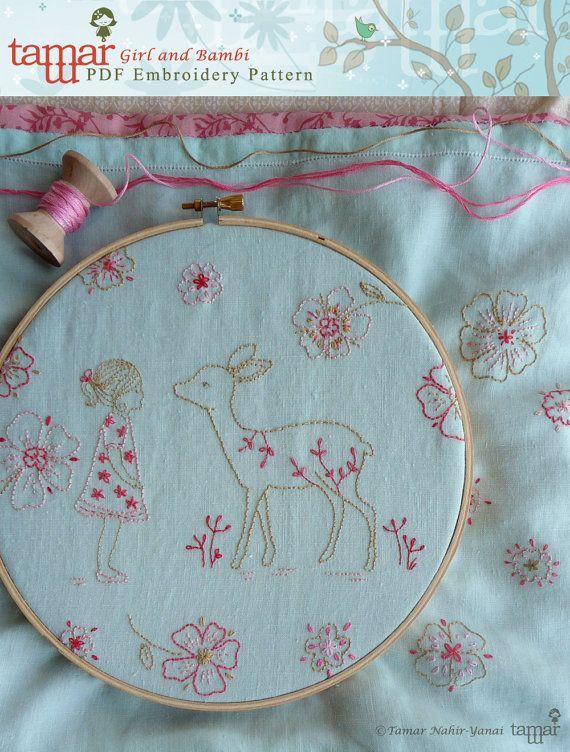 Embroidery Patterns Baby Girl  Girl and Bambi by TamarNahirYanai, $5.00