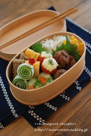 Japanese Bento Lunch (Teriyaki Pork Ball, Dashimaki Tamago Egg Omlet, Veggie Roll) © marron_coron