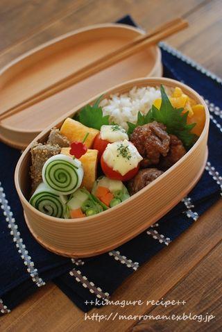 Japanese Bento Lunch (Teriyaki Pork Ball, Dashimaki Tamago Egg Omlet, Veggie Roll) © marron_coron