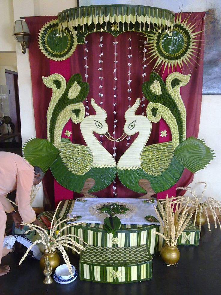 Traditional vwedding decor with coconut kola for Art decoration sri lanka