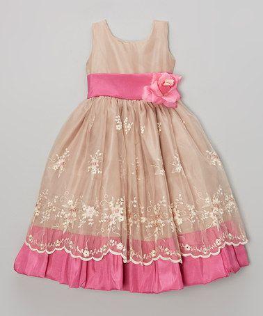 Look at this #zulilyfind! Brown & Fuchsia Flower Dress - Toddler & Girls by ClassyKidzShop #zulilyfinds