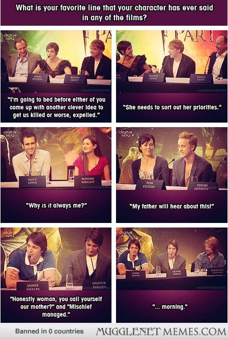The cast of Harry Potter discussing their favorite lines. Oh George...