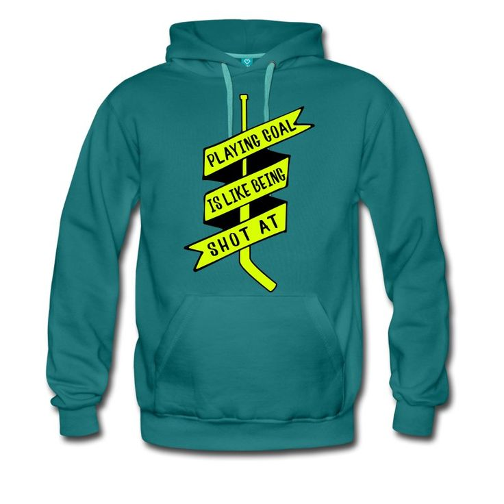 Playing Goal is Like Being Shot At, heavy fleece hockey hoodie. One of many ice hockey hoodies available from Two, Five & Ten Hockey Apparel, priced from £30.99. #IceHockey #hockeyhoodies #hockeyhoody #Spreadshirt #HockeyDesigns #eishockey