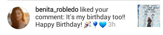 Benita Robledo who plays Deputy Clark on Teen Wolf liked my comment! Happy Birthday to us!!  (June 28, 2017)