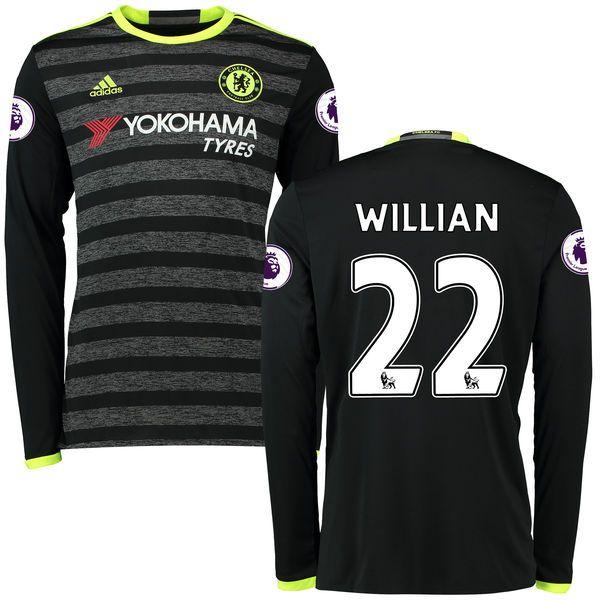 Willian Borges da Silva Chelsea adidas 2016/17 Away Replica Patch Long Sleeve Jersey - Black - $124.99