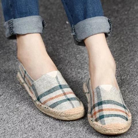 2e598944ea2d Large Size Women Canvas Shoes Color Block Slip-on Causal Comfort Loaf –  shecici