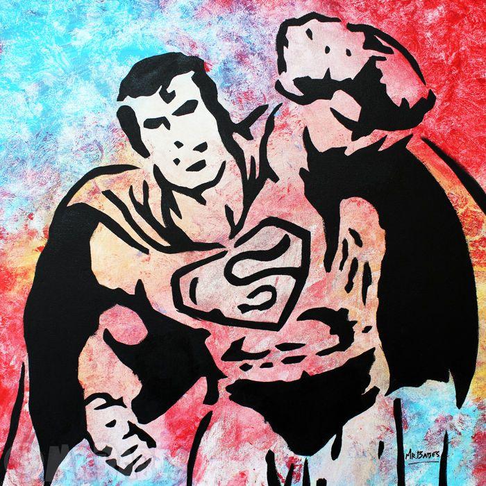 """MIJNHEER. BABES - Superman  Grootte: 30 """"x 30"""" (77x77cm)Medium: Acryl Spray & huis verf op doekEditie: origineleHand ondertekend rechtsonderOrigineel handgeschilderde & een van een soortCertificaat van echtheid opgenomenMIJNHEER. BABES is een Hawaiiaanse pop kunstenaar wiens werk heeft tentoongesteld overal uit New York naar Tokyo. Voordat hij werd bekend als een professionele kunstenaar heer. BABES gevonden succes als een kunst makelaar curator en opvoeder. Zijn oorspronkelijke stijl van…"""