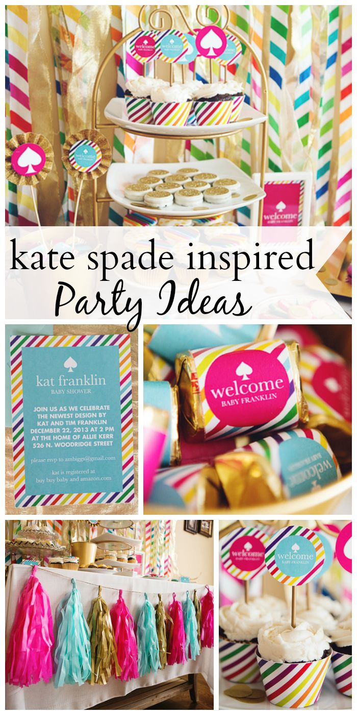 Love the bright colors and fantastic style at this Kate Spade inspired baby shower!  See more party ideas at CatchMyParty.com!