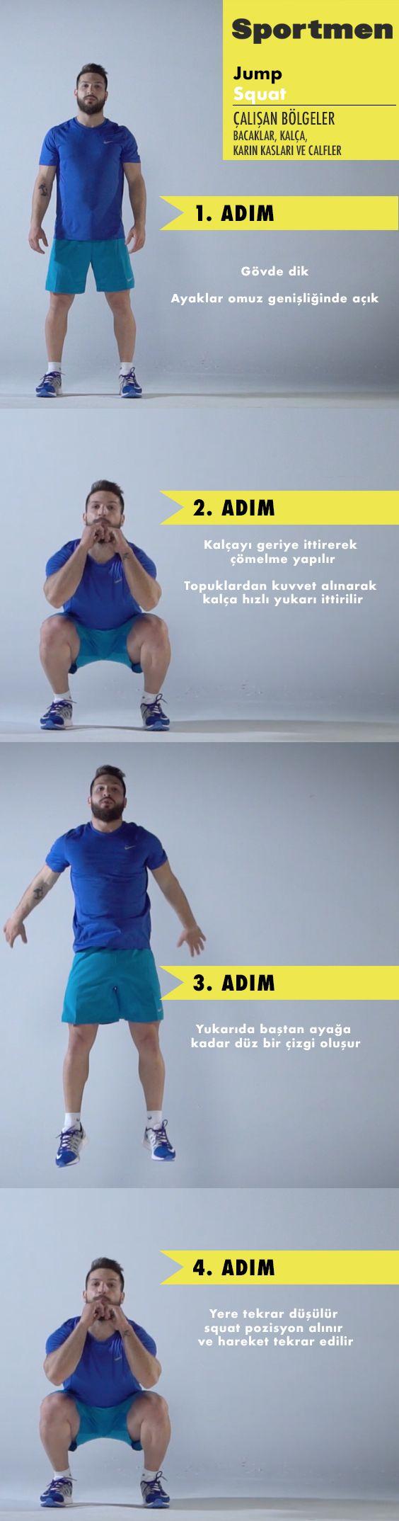 Bacak, kalça, karın kasları ve calfleri çalıştıran Jump Squat nasıl yapılır? #sportmen #fitness #egzersiz #training #spor #video