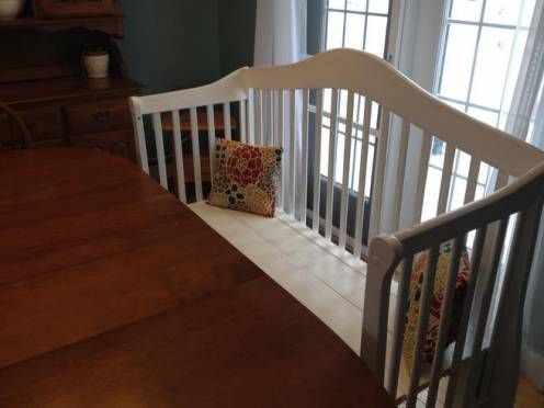 The reinvented crib is now a bright addition to the dining room table, and provides lots of seating.