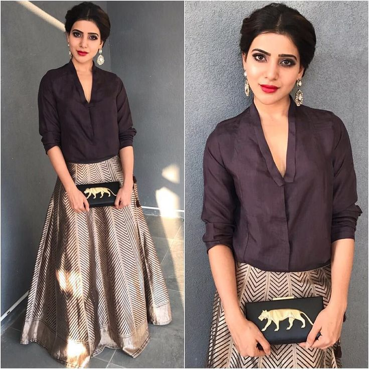 Samantha prabhu: Raw Mango by Sanjay Garg handwoven Banaras silk lehenga, matching black shirt, Sabyasachi clutch.