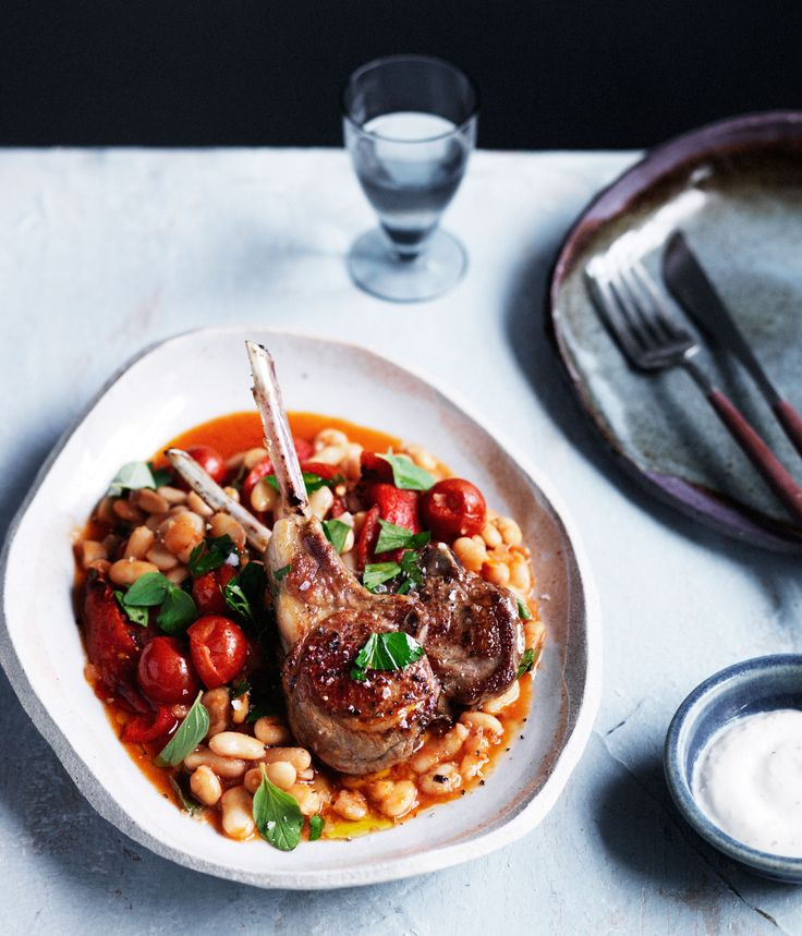 Lamb cutlets with white beans, capsicum and oregano :: Gourmet Traveller