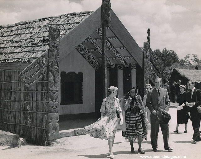 Queen Elizabeth at Whakarewarewa in 1954 - image from romanbenedikhanson, via Flickr