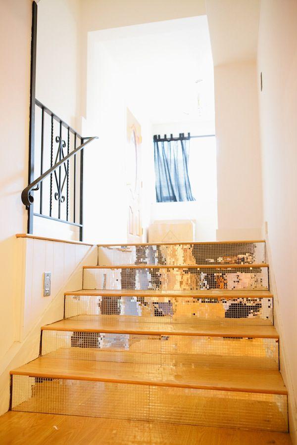 mirror-tiled staircase