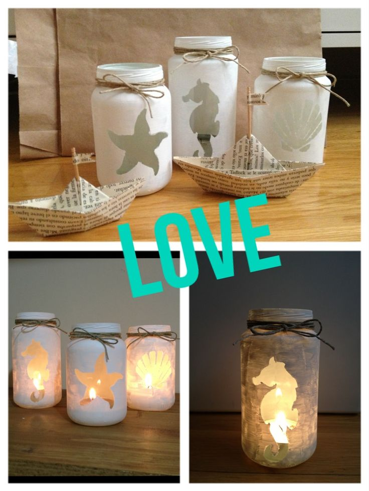 Love my recycled jars!! From baby food to beautiful candles!! Just paint them with white gesso on top of a shape cut out of masking tape  roll n ur done!! U peel it off after it dries n add some decor to the top part n ur finished!!!  Easy diy, n cheap ! Christmas present? Mothers day gift idea?