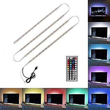 Minger 4x 50cm Ruban à LED RGB / RVB Bande Strip Flexible IP65 Etanche SMD 5050 Avec 5V USB Câble et 44 Touches Télécommande pour Décoration TV Moniteur Derrière, Ordinateur, etc.