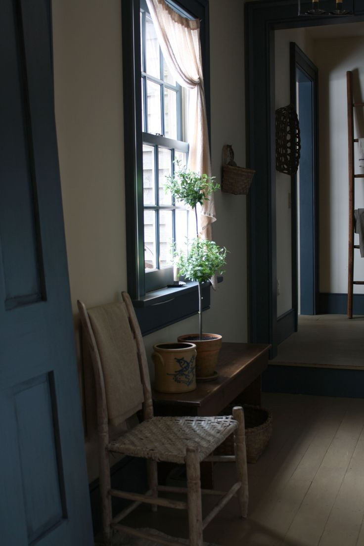 Mudroom Doors, Primitives Room, Colonial Blue, Primitives Decor, Living Room, Mud Rooms, Blue Trim, Blue Woodworking, Windows Trim