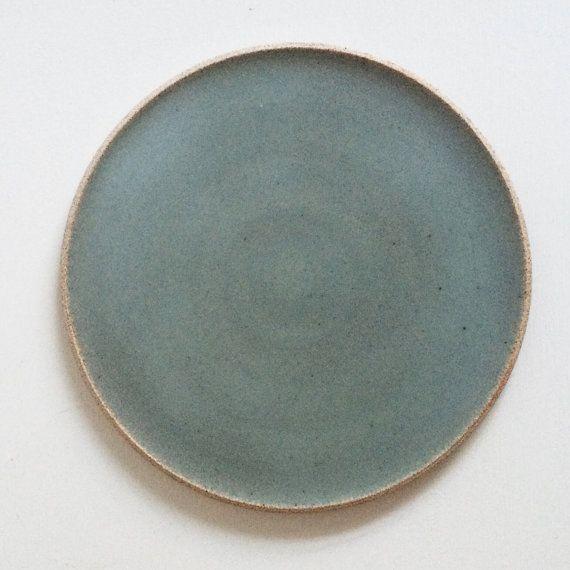 Handmade Sage Green Dinner Plate Rustic by PeterSheldonCeramics
